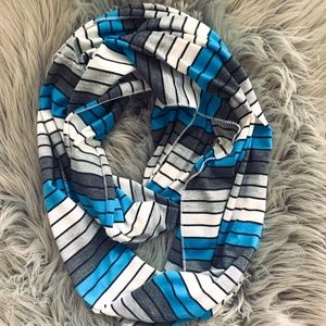 Jersey knit striped infinity scarf